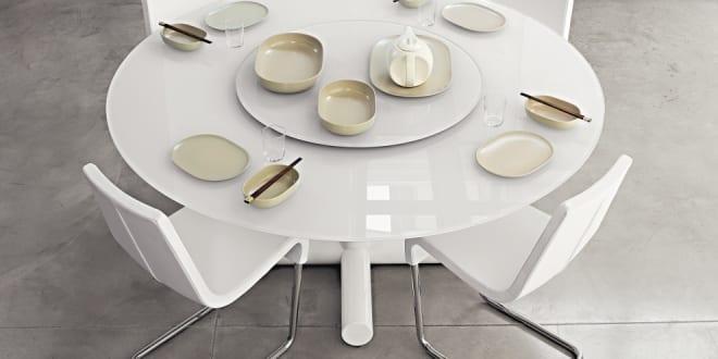 runder tisch weiß mit glasplatte milchweiß - fresHouse