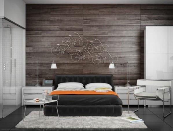 Luxus Schlafzimmer Inspiration Mit Grauem Quinsize Bett Samt Und  Wandverkleidung Aus Dunklem Holz Und Badezimmer Mit