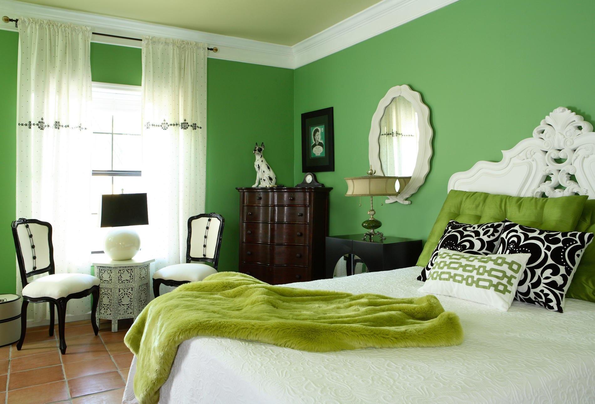 amazing wandfarbe schlafzimmer grun #8: schlafzimmer inspiration mit wandfarbe grün im barock