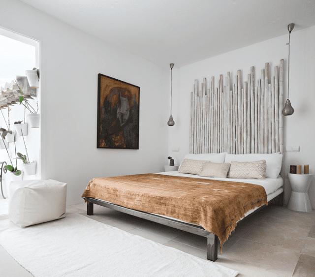 Schlafzimmer Isnpiration Mit Quinsize Bett Aus Metall Und Kopfbrett