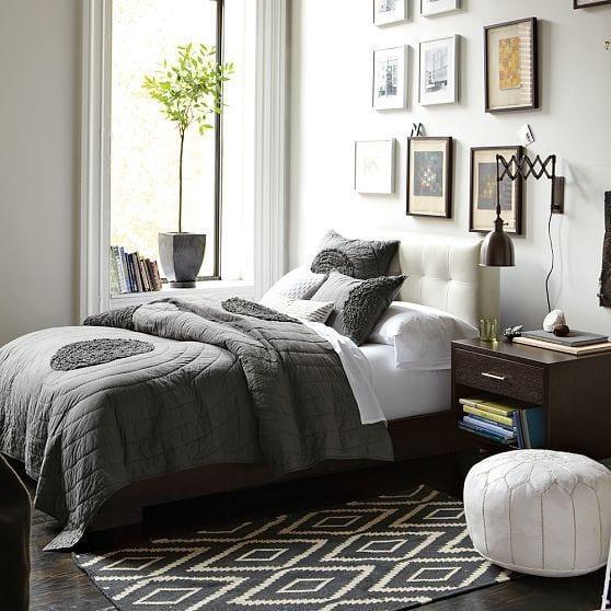 Schlafzimmmer Inspiration In Grau Mit Wandgestaltung Schlafzimmer