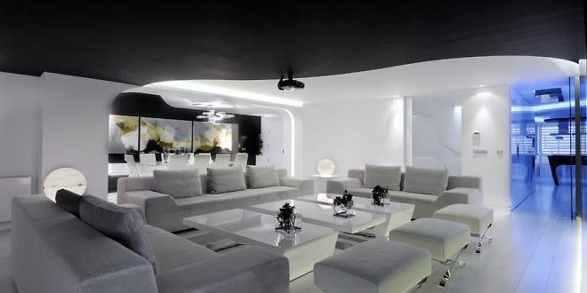 schwarz wei e wohnzimmer inspirationen maisonette wohnung. Black Bedroom Furniture Sets. Home Design Ideas