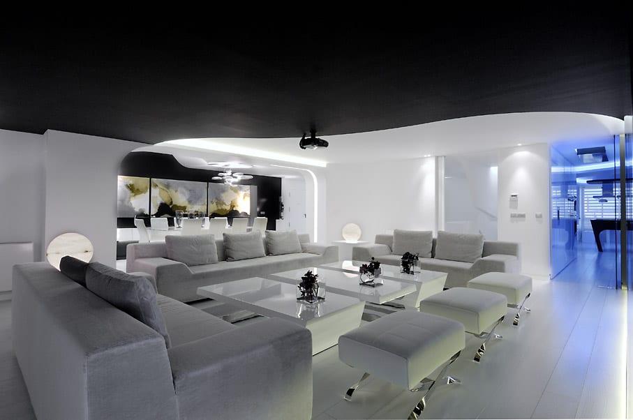 schwarz wei e wohnzimmer inspirationen maisonette wohnung von a cero freshouse. Black Bedroom Furniture Sets. Home Design Ideas