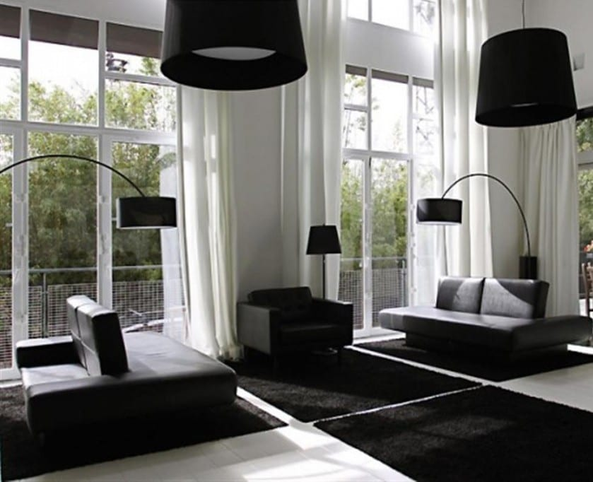 schwarz wei e wohnzimmer moderne innenraumgestaltung freshouse. Black Bedroom Furniture Sets. Home Design Ideas