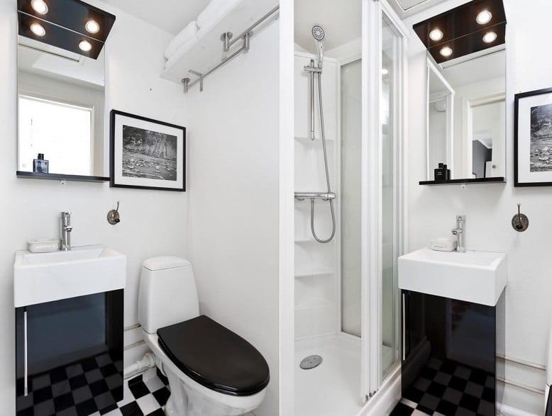 schwarz weißes badezimmer interior-zweiraumwohnung ideen - fresHouse