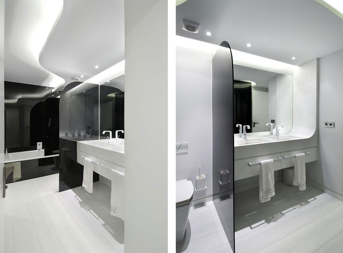 schwarz wei es badezimmer moderne maisonette freshouse. Black Bedroom Furniture Sets. Home Design Ideas