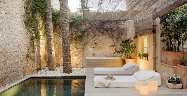 Sonnensegel Terrasse Gestalten Mit Steingarten Und Pool Für Moderne Terrasse