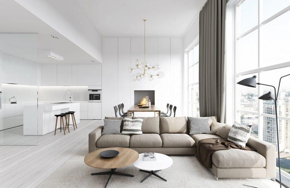 stylisches wohnzimmer inspirationen mit rundem couchtisch holz - Stylisches Wohnzimmer