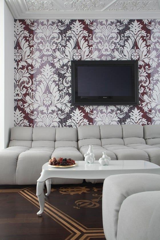 Wandgestaltung Mit Tapete Im Barock Stil-Luxus Wohnzimmer