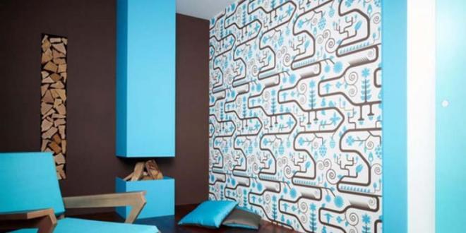 Wohnzimmer braun mit kamin und sessel blau wandfarbe for Wandfarbe hellblau