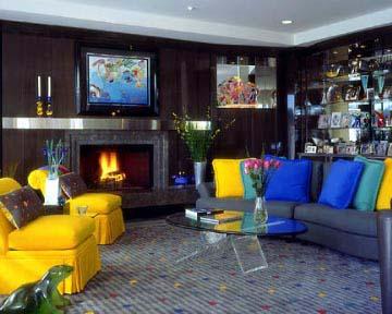 Wohnzimmer Farbgestaltung In Blau Und Gelb