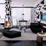 luxus wohnzimmer mit schwarzen bodenfliesen und 3d Wandpaneelen in schwarz-weiß_modernes wohn esszimmer interior mit kamin und aquarium