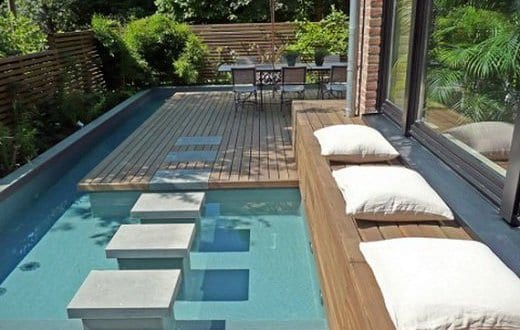 Wpc Terrassen Mit Pool Und Trittsteinen Aus Beton Im Pool