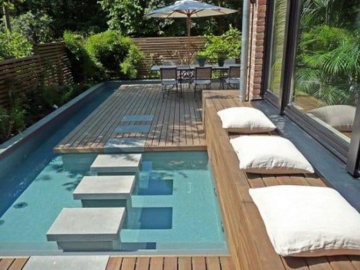 Wpc Terrassen Mit Pool Und Trittsteinen Aus Beton Im Pool Freshouse