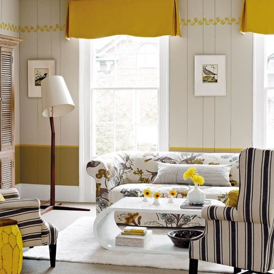 zimmergestaltung in wei und gelb coole wohnzimmer. Black Bedroom Furniture Sets. Home Design Ideas