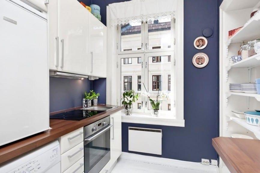 zweiraumwohnun gestaltung-kleine küche einrichten in weiß - fresHouse