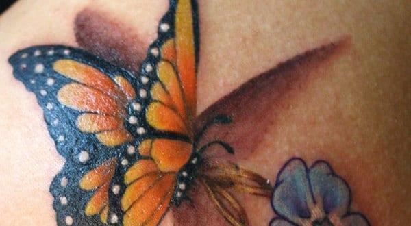 3d tattoo schmetterling mit blume tattoo freshouse. Black Bedroom Furniture Sets. Home Design Ideas