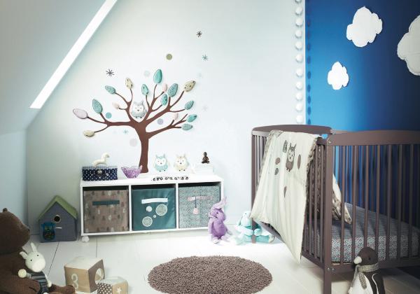 Wunderbar Babyzimmer Wandgestaltung Mit Wolken Und Wandfarbe Blau