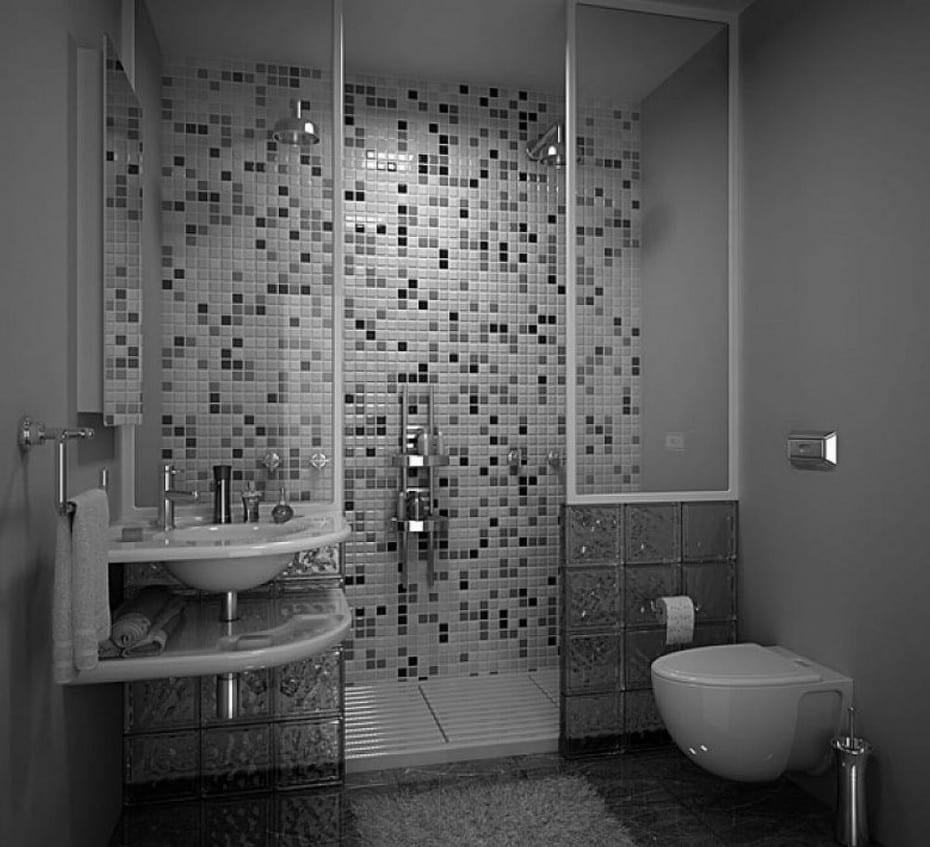 Badezimmer Grau Design Idee Mit Mosaik Und Glassteinen