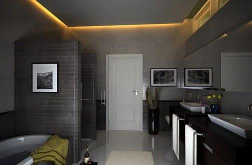 badezimmer grau mit abgehönter badezimmer decke - fresHouse