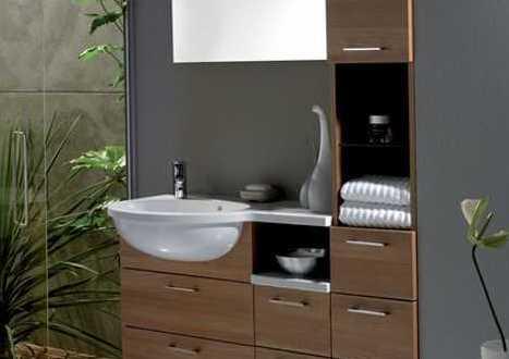 Badezimmer Grau Mit Badezimmerschrank Holz Freshouse