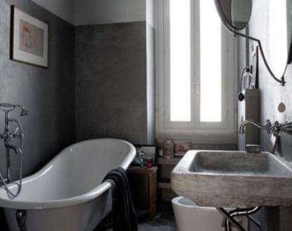 badezimmer grau mit wabenförmigen bodenfliesen grau - fresHouse