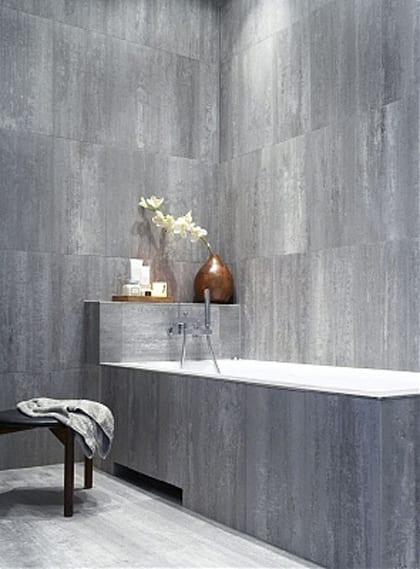 Wunderbar Badezimmer Grau Mit Wandverkleidung Aus Naturstein