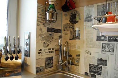 Coole Idee Für Küchenwandgestaltung Mit Zeitungen