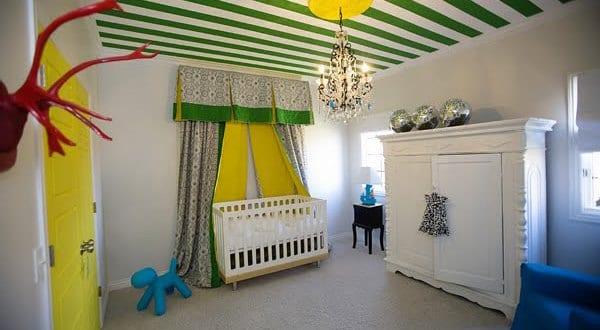 Cooles babyzimmer streichen idee in gelb und gr n mit vorh ngen babyzimmer gelb freshouse - Babyzimmer gelb ...