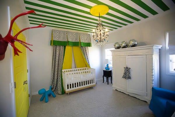 Cooles Babyzimmer Streichen Idee In Gelb Und Grun Mit Vorhangen