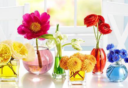 farbige tischdeko fr hling mit fr hlingsblumen in farbigem wasser aus lebensmittelfarbe freshouse. Black Bedroom Furniture Sets. Home Design Ideas