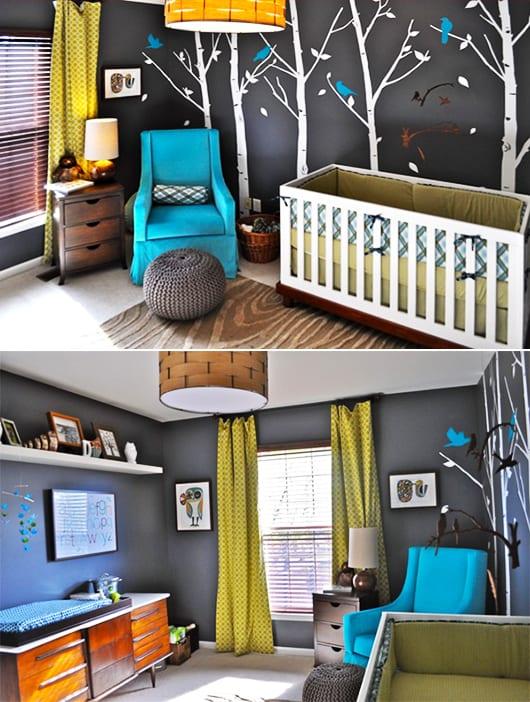 Frische Kinderzimmer Gestaltung Mit Wandfarbe Grau Und Wandtattoo