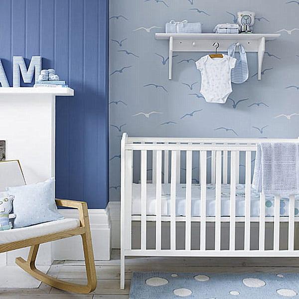 Attraktiv Ideen Babyzimmer Junge Mit Wandfarbe Blau Und Tapete Babyzimmer Grau Mit  Vogelmotiv