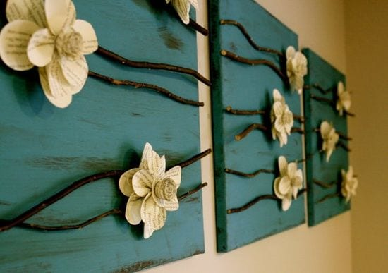 ideen f r diy wanddeko mit blumen aus papier freshouse. Black Bedroom Furniture Sets. Home Design Ideas