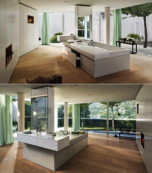 Ideen f r badezimmergestaltung mit freistehender badewanne mit schubladen und stutze gestaltung - Ideen badezimmergestaltung ...
