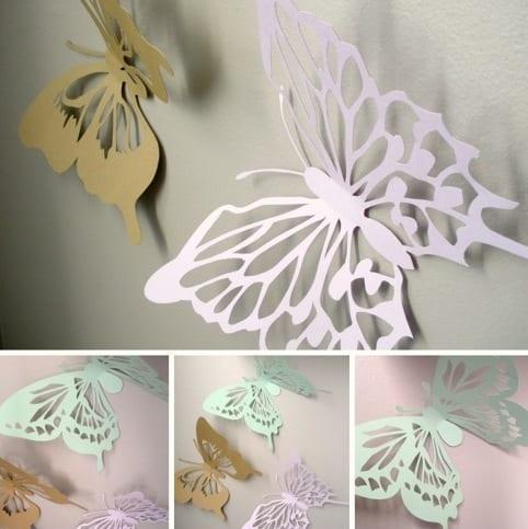 ideen f r wandgestaltung mit schmetterlingen aus papier freshouse. Black Bedroom Furniture Sets. Home Design Ideas