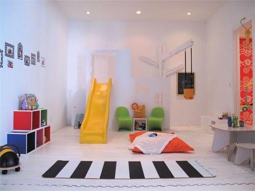 kinderzimmer farbgestaltung und einrichtung mit rutsche gelb - fresHouse