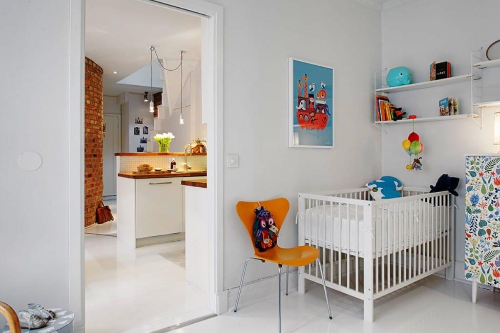 Kleines Babyzimmer Weiß Mit Interessanter Wandgestaltung Babyzimmer
