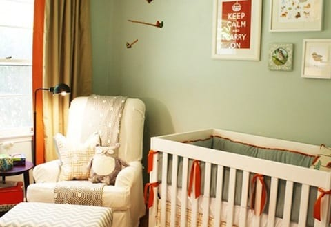 kreative gestaltung babyzimmer mit wandfarbe gr n und. Black Bedroom Furniture Sets. Home Design Ideas