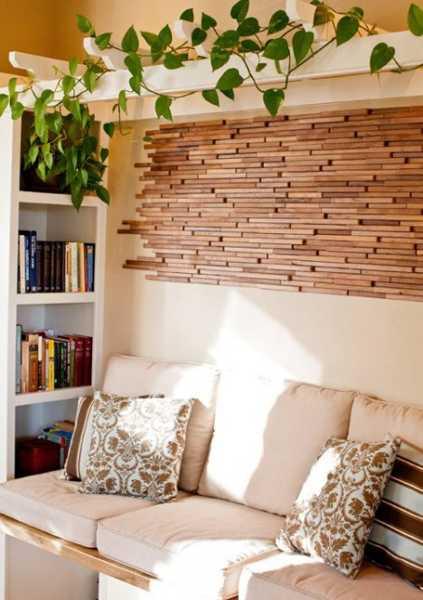 kreative wandgestaltung wohnzimmer mit holzfliesen - fresHouse