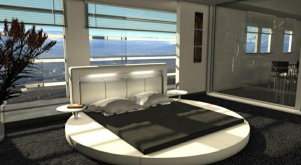 luxus schlafzimmer mit wasserbett rund und teppichboden schwarz ...