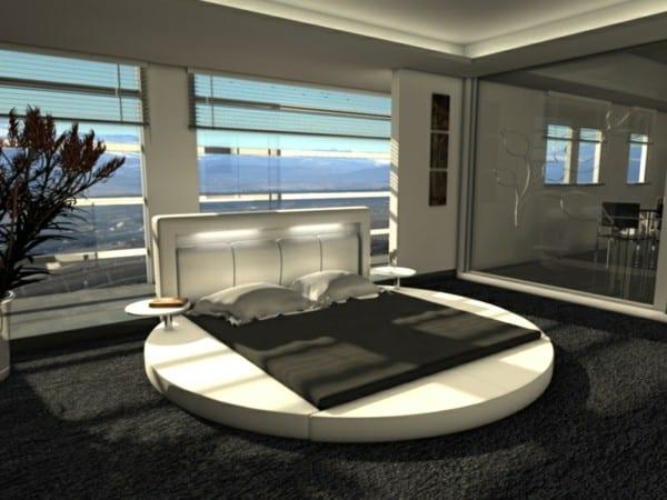 Luxus Schlafzimmer Mit Wasserbett Rund Und Teppichboden Schwarz