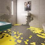 innendesign für luxus badezimmer mit sichtbetonwänden und badezimmer fliesen in gelb und schwarz