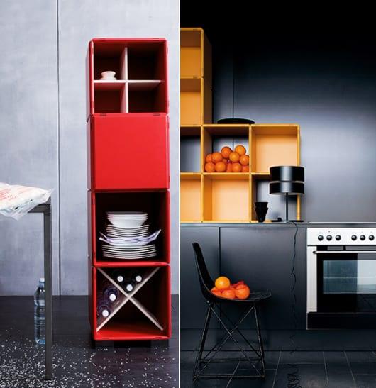 moderne-Küche-einrichten-mit-Küchenregal-modular-in-rot ...