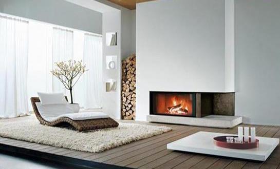 Modernes Interior Design Mit Holzpodest Und Eckkamin Weiß