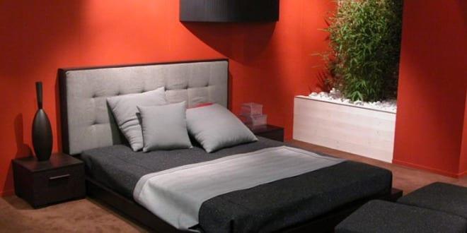 schlafzimmer rot mit wasserbett schwarz und grau freshouse. Black Bedroom Furniture Sets. Home Design Ideas