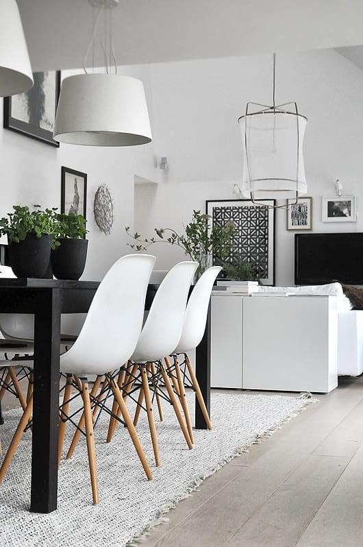 skandinavisches Interior Design weiß für modernes wohn esszimmer mit ...