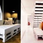 kreative gestaltung im flur mit weißem sofa aus europaletten_wand streichen ideen in schwarz und weiß
