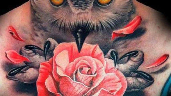 tattoo vorschl ge mit eule und rose f r hals tattoo freshouse. Black Bedroom Furniture Sets. Home Design Ideas