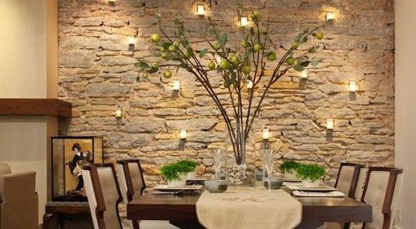 Wandgestaltung Mit Kerzen Für Natursteinwand